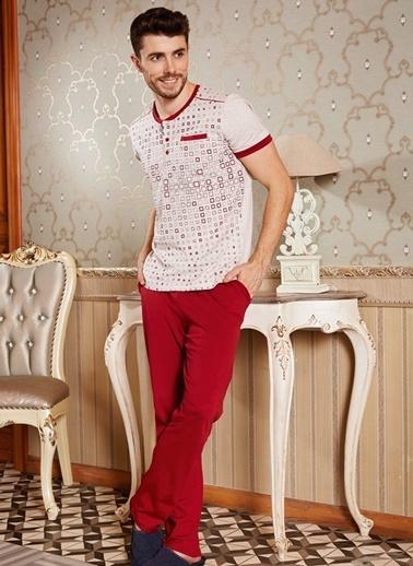 Goldenbay Erkek Pijama Pamuklu Kareli T-Shirt Pantolon 2'li Takım Kahve